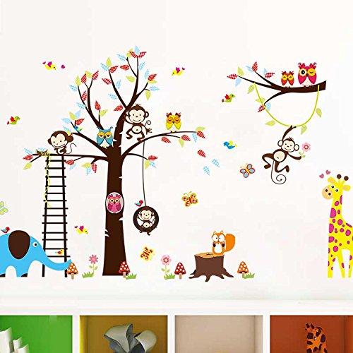 Dschungel Zoo: Giraffe, Elefant, Löwe, Zebra, Eulen und Affe Tier Party Wandtattoo Baum Wandaufkleber Wandsticker für Kinder Wohnzimmer, Schlafzimmer, Kindergarten Dekorationen - Geschenke