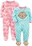 Simple Joys by Carter's Baby Girls - Confezione da 2 pile con piedini per dormire e giocare ,Monkey/Elephant ,6-9 Months