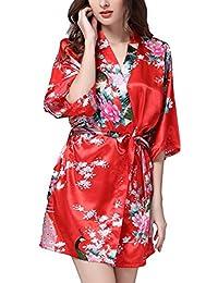 Hammia Mujer Vestido Kimono Corto Pijama Bata Satén Estampado Flores Ropa de Dormir 3/4