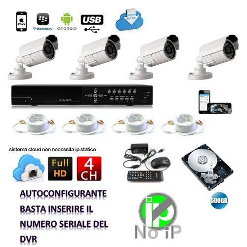 KIT VIDEOSORVEGLIANZA 4 TELECAMERA 1000 TVL LED INFRAROSSI + DVR 4 CANALI + ALIMENTATORI + (Tvl Telecamera Bullet)