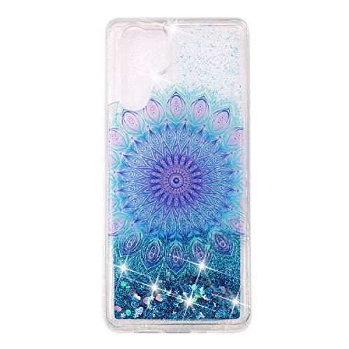 Miagon Flüssig Hülle für Huawei P30 Pro,Glitzer Weich Treibsand Handyhülle Glitter Quicksand Silikon TPU Bumper Schutzhülle Case Cover-Blau Totem Blume