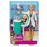 Barbie FXP16 - Berufe Zahnärztin Spielset, inkl. Puppe und Babypuppe mit blonden Haaren, Puppen...