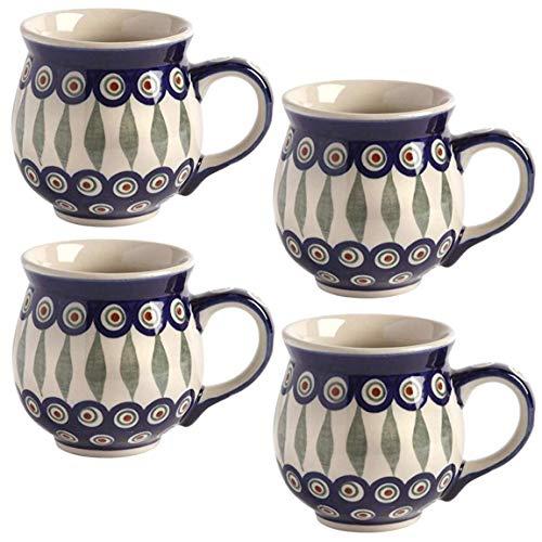 Set of 4Pottery Polnische Keramik Blumenmuster Jumbo Barrel Bubble Kaffee Tassen, 473ml Casual Large Blue Peacock Feathers Blue Barrel Mug