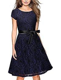 Miusol Damen Elegant Bogen Gürtel Hochzeit Brautjungfer Mini Kleid Spitzenkleider Abendkleider Rot Gr.S-XXL