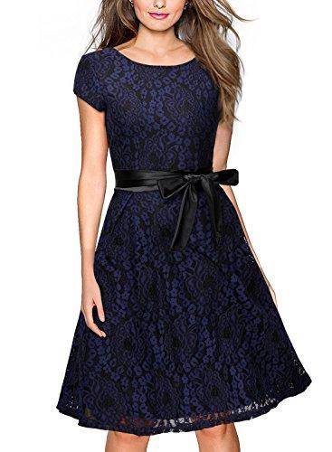 Miusol Damen Elegant?Bogen Guertel Hochzeit Brautjungfer Mini Spitzenkleider Abendkleider Navy Blau Gr.3XL