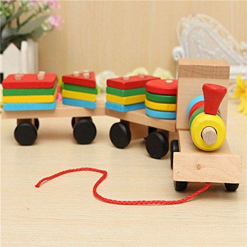 Direct Giocattoli treno in legno puzzle di blocchi geometrici regalo (Blocchi Treno)