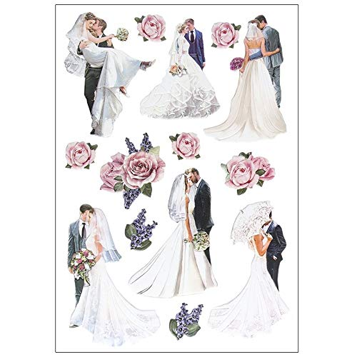 Stickerbogen 3-D Relief-Sticker | Hochwertig geprägt mit 3-D-Effekt | Din A4 Bogen mit verschiedenen Motiven (Hochzeit | Brautpaare)