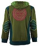 Guru-Shop Goa Jacke Ethie Hoody, Herren, Olive, Baumwolle, Size:S, Jacken, Ponchos Alternative Bekleidung