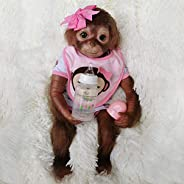 Wamdoll 20 inches 51CM Realistic Lifelike Gentle Touch Reborn Monkey Baby Dolls Weighted Body Very Soft Silico
