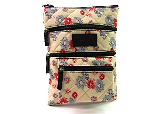 The Leather Emporium, Borsa a tracolla donna Cream with flowers
