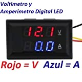 Voltimetro Amperimetro Digital LED Medidor Batería Color Calibre Dual Voltios