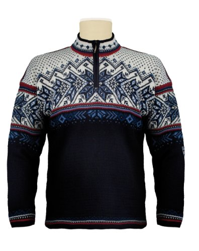 Dale Of Norway Wollpullover (Dale of Norway Erwachsene Pullover Vail Sweater, Midnight Navy/Red Rose/Off White/Indigo/China Blue, M)
