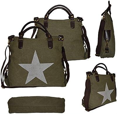 Funda Canvas Cuero PU Estrella Star Bag Shopper-Bolso Hombro Bolso De Asa De Algodón Plástico Bolsa Verde armygrün Army Green