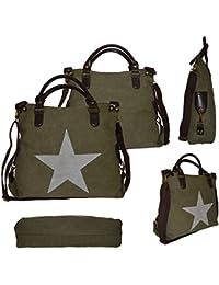 Bolso de lona y piel sintética PU, con estrella, bolso shopper–Bolso de hombro, bolso con asa de algodón y plástico, verde militar
