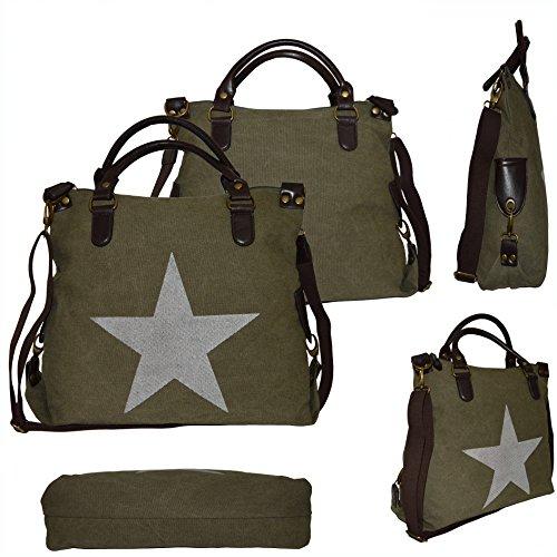 Tasche Canvas PU Leder Stern Star Bag Shopper Handtasche Schultertasche Umhängetasche Henkeltasche Baumwolle Stoff Tragetasche grün armygrün Army Green (Elemente Baumwolle Stoff)