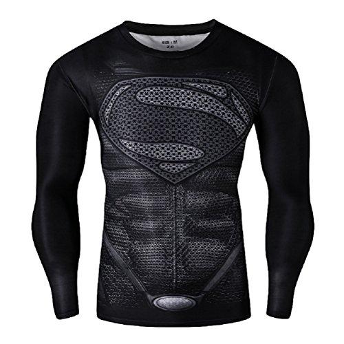 Born2RideTM Shirt im Superheld-Kostüm für Fitnessstudio/Radsport, Compression Baselayer T-Shirt mit kurzen Armen für Herren Gr. M, New Man of Steel Black