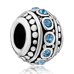 Pandora Damen-Charm Silber Zirkonia Blau Schwarz DPC_AM19