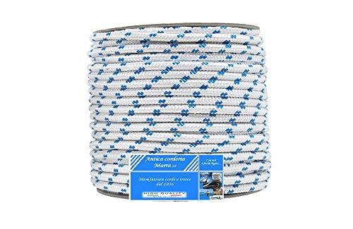 Corda Antica Corderia Marra - Treccia Nautica mm 10, 30 m, bianca con segnalino azzurro