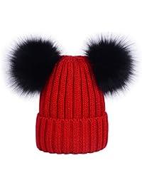 Lau s Berretti invernali da donna cappelli in maglia berretto a coste con  doppio pompon in pelliccia 2b99a5e73a64