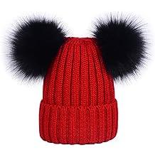 Lau s Berretti invernali da donna cappelli in maglia berretto a coste con  doppio pompon in pelliccia 37cdf7b7a71d