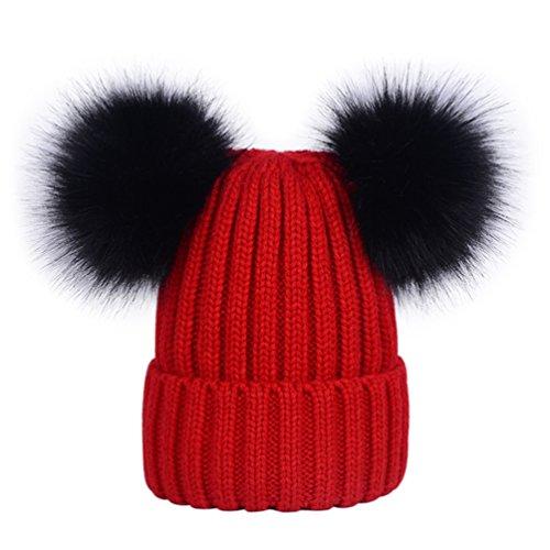 Lau s Berretti invernali da donna cappelli in maglia berretto a coste con  doppio pompon in pelliccia sintetica rimovibile 7813ea6e58b0