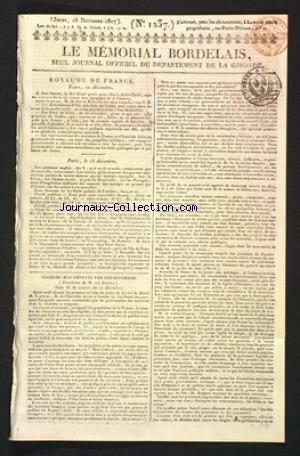 MEMORIAL BORDELAIS (LE) [No 1237] du 18/12/1817 - AU ROYAUME DE FRANCE - CHAMBRE DES DEPUTES DES DEPARTEMENTS