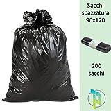 Palucart sacchi neri grandi resistenti sacchi spazzatura condominiali cm 90x120 120 litri 200 pezzi