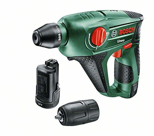 Preisvergleich Produktbild Bosch DIY Akku-Bohrhammer Uneo, 2 Akku, Ladegerät, Rundschaftadapter, 2 SDS-Quick Betonbohrer, 2 Hex-Schaft Bohrer, 4 Bits, Koffer (12 V, 2,5 Ah, 10 mm Bohr-Ø Beton)