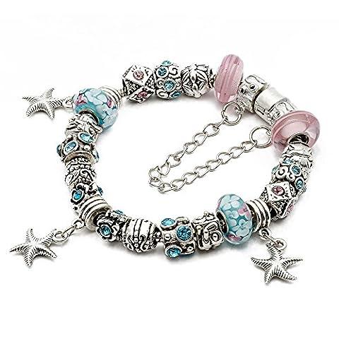 RUBYCA Silver Tone European Charm Bracelet 8.7 Pink & Blue Murano Glass Beads DIY Jewelry Kit 26 by RUBYCA
