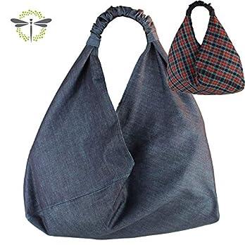 ORIGAMI-TASCHE Shopper Einkaufstasche Schultertasche – blau, kariert