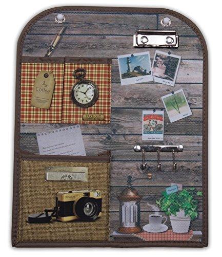 Vintage Design Wand hängen Veranstalter mit Schlüssel Halter, Clip Board, und Taschen 29,8x 36,8cm - Wand Veranstalter