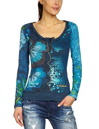 Desigual - T-Shirt - Femme - Bleu (Azul Artico 5039) - FR : 44 (Taille fabricant : XL)
