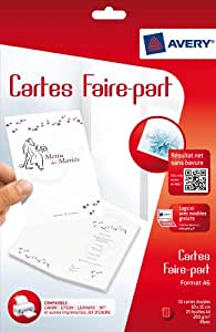 Avery 50 Cartes Faire-Part - A6 - Impression Jet d'Encre - Mat - Blanc (C2361)