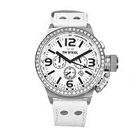 TW Steel CANTEEN STYLE TW-10 - Reloj unisex de cuarzo, correa de piel color blanco de TW Steel