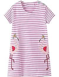 87e3b8848955 Smazero Little Girls Short Sleeve Dresses Casual Cute Flamingo Print Cotton  Dress Kids Baby Girls Clothes