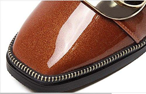 Onfly Pompa Loafer Scarpe casual Tacchi piatti Da donna Incantevole Confortevole Punto quadrato Fibbia in cintura metallica Tacchi alti Calzature in pizzo Scarpette Formato Eu 35-39 Black