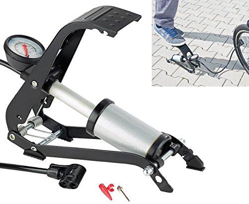 AGT Fusspumpe: Stabile Fußluftpumpe mit Stahlzylinder und Adapterset (Velopumpe)