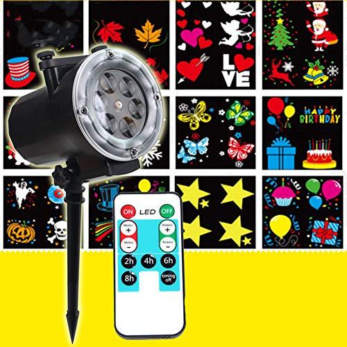 Rotierende Projektor Spotlight, Garten Projektor 12 Modi Wasserdichte Outdoor-Rotierende Lampe Projektion Spotlight Weihnachten Halloween Party Garden Outdoor Und Inneneinrichtung