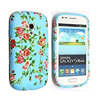 Gr8value Clear Case Thin Transparent Soft Gel S TPU Silicone Case Cover Samsung Galaxy S3 Mini i8190 (Pink rose green gel)
