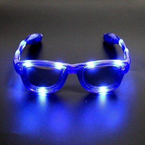 (LED-Brillen für Kinder - Leuchten LED-Brillen, LED-blinkende Sonnenbrillen in 4 verschiedenen Farben Unisex für Erwachsene und Kinder, LED-Sonnenbrillen, blinkende Gläser, Gläser für Party, Geburtstag, Halloween, Weihnachten (Blau))