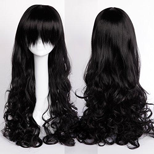 80cm parrucca nera da donna capelli lunghi mossi ricci per carnevale travestimento cosplay alta qualità resistente al calore