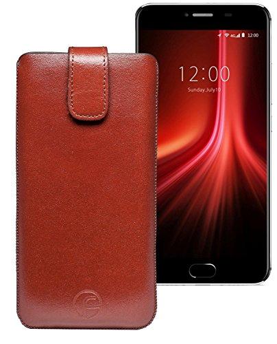 Original Favory Etui Tasche für Umidigi Z1 Pro | Leder Etui Handytasche Ledertasche Schutzhülle Case Hülle Lasche mit Rückzugfunktion* in braun