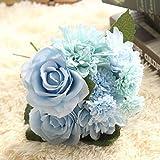 Socialism Fiori Artificiali Fiori Finti Rose Artificiali in plastica di Seta Bouquet da Sposa per Decorazioni per Matrimoni per Feste in Giardino Blu Tiffany - Blu