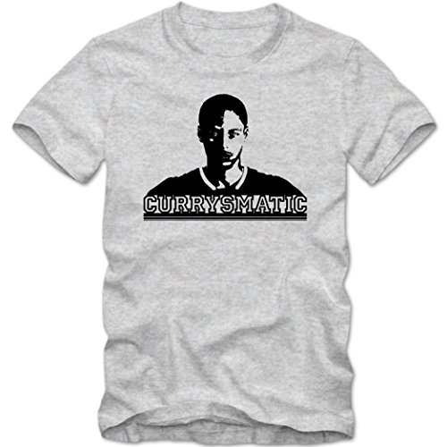 Stephen Curry Smatic #1 T-Shirt | Hurry Up | NBA | Adult Homme | GSW | Basketball | Coton | Manche Courte, Couleur:Graumeliert (Grey Melange L190);Taille:Small