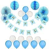 Foonii 22er Geburtstag Dekoration Set Happy Birthday, Mädchen Geburtstagsparty Luftballons blau Motiv Fahne für Geburtstag Party Dekoration Kindergeburtstag Deko