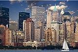 Zopix Poster New York Skyline Manhattan Hudson Wandbild - Premium (45x30 cm, versch. Größen) - 190g Premium-Papierdruck - Inklusive Poster-Stripes