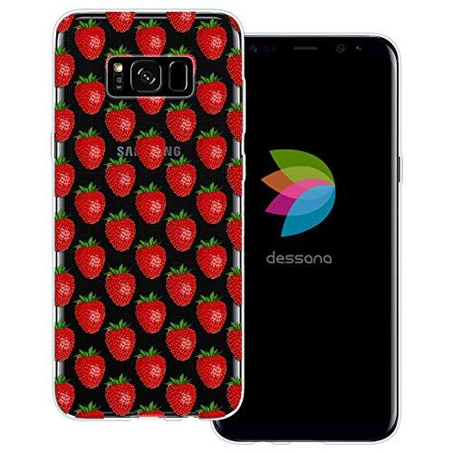 dessana Cartoon Obst transparente Schutzhülle Handy Case Cover Tasche für Samsung Galaxy S8 Erdbeer Muster