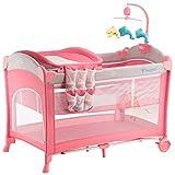 Changing Tabl GUO@ Baby Wickeltisch, 0~3 Jahre alt Baby Spiel Bett, multifunktionale zusammenklappbare Babybett, Windeltabelle Gewicht 30 Kg gibt es Geschenke Kinderzimmermöbel (Farbe : Pink)