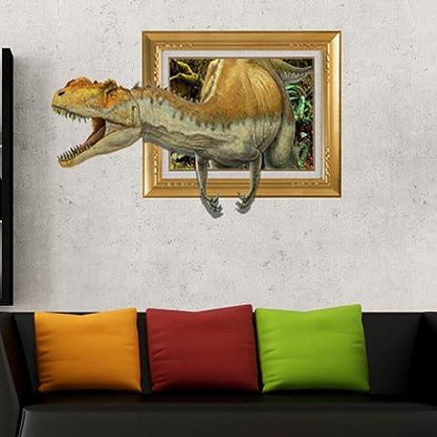 Bambini i doni di 3D Creative dinosauro giallo Wall stickers Wall stickers Wallpaper Hd carta autoadesiva Background camera da letto soggiorno divano TV (58*89.9cm)
