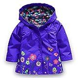 Timlung Giacca impermeabile con cappuccio Outwear Impermeabile cappotto delle bambine e ragazze, Blu scuro, 2-3 ans(Taglia 100)